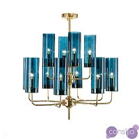 Люстра копия Brass & Blue Glass Tube by Hans-Agne Jakobsson (15 плафонов, синий)